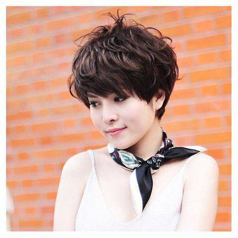 Korean Style Refreshing and Sweety Covering Forehead Fluffy Short Wavy Wig For Women--High Temperature Fiber - LIGHT BROWN HIGH TEMPERATURE HAI