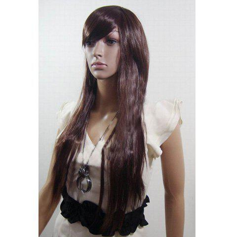 Korean Fashionable and Elegant Style Inclined Bang Fluffy Long Straight Full Wig For Women--High Temperature Fibre - DARK BROWN HIGH TEMPERATURE HAI
