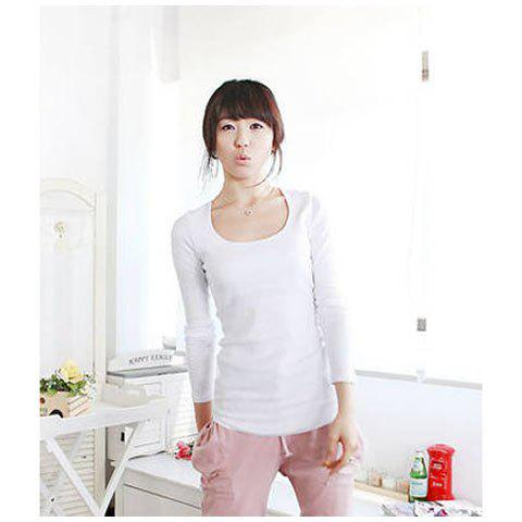New Arrived Concise and Simply Round Neckline Long Sleeves Lycra Under Shirt For Women - WHITE FREE SIZE