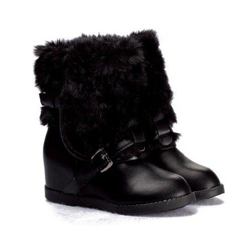 Korean Fashionable and Comfortable Style Buckle and Fur Trimming Embellished Boots For Women - BLACK 35