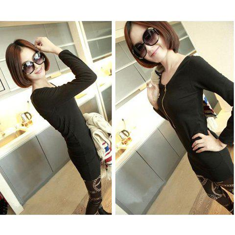 Korean Slim and Elegant Round Zipper Collar Long Sleeves Cotton Under Shirt For Women - BLACK ONE SIZE