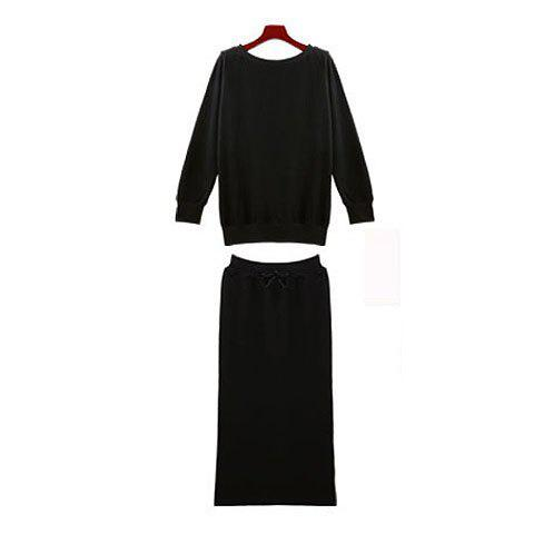Casual Boat Collar H-Line Lace-Up Long Sleeves Cotton Two Pieces Dress For Women - BLACK ONE SIZE