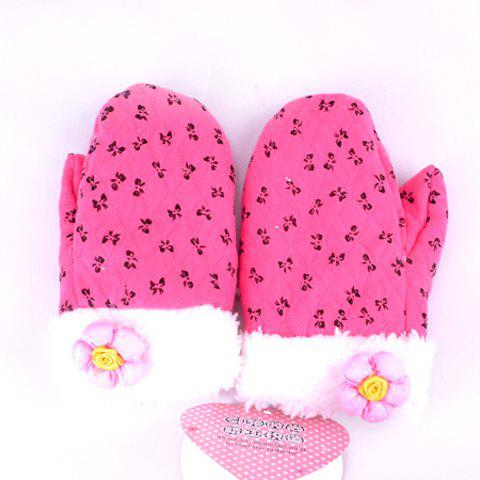 Korean Fashion and New Arrival Soft and Sweet Pattern Decorated Gloves For Little Girls - ROSE