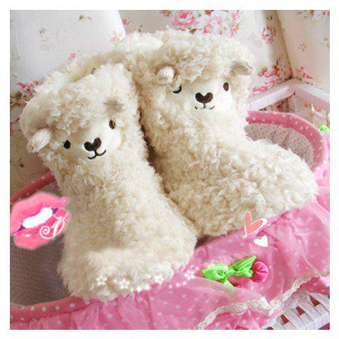 Winter Essential Lovely Cartoon Lamb Patterns Warmly and Comfortable High-Top Slippers For Women - BEIGE 38