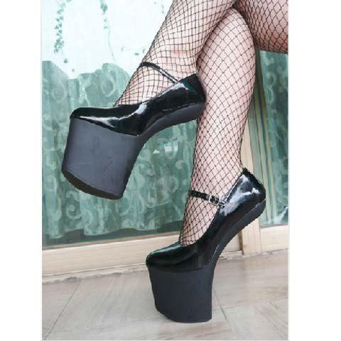 New Arrival Fashion and Sexy Super 20CM Height Heelless Buckle Shoes For Chic Female - BLACK 36