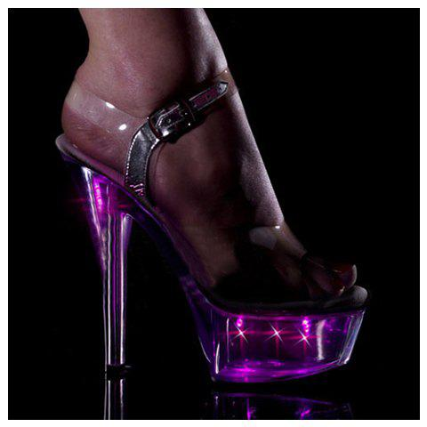 New Arrival Chic and Sexy Crystal Soles Design High-Heeled Ankle Buckle Sandals For Female - WHITE 41