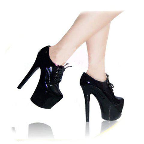 New Arrival Fashion and Mix-Matched Thick Platform Lace-Up Ankle High Shoes For Female - BLACK 39
