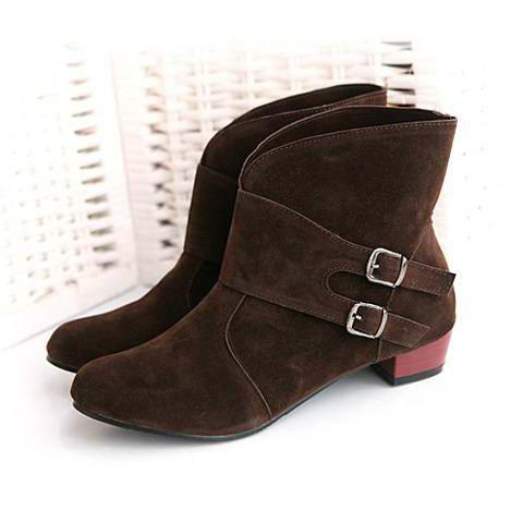 New Arrival Stylish and Sweet Style Buckle Embellished Boots For Female - BROWN 36