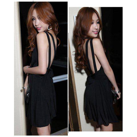 Sexy Deep V-Neckline Backless High Elastic Cotton Mini Pleated Dress For Women - BLACK