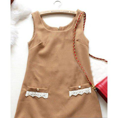 Cute and Sweet Flower Hem Design On Pocket Thick Dress For FemaleWomen<br><br><br>Size: FREE SIZE<br>Color: DARK KHAKI