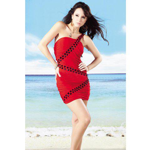 New Arrival One-Shoulder and Rhinestone Embellished Fitted Dress For Female - RED FREE SIZE