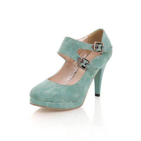 New Arrival Sweet and Simple Style Buckle Embellished High-Heeled Shoes For Female - BLUE 38