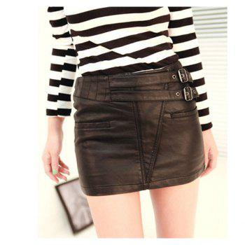 Stylish Column Buckles Embellished Hidden Double Pockets Artificial Leather Skirt For Women