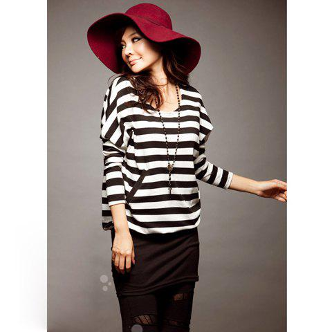 Stylish Stripes Patterns Bat Sleeve Colormatching Dress For Women - BLACK