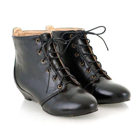 Fashionable and Preppy Style Lace Embellished Wedge Heel Design Boots For Female