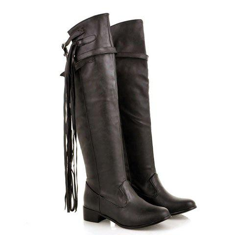 New Arrival Stylish and Slimming Style Tassels and Buckle Embellished 49CM Upper Design Knee Boots For Female - BROWN 38