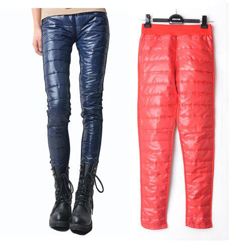 Stylish and Slimming Lift Up Buttocks Solid Color Cotton Blended Long Pants For Women - RED