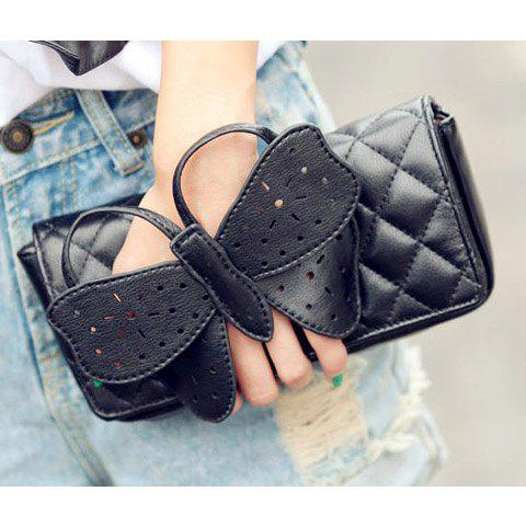 New Arrival Covered Bowknot and Rhombus Embossing Embellished Slanting Bag/One-Shoulder Bag For Female - BLACK