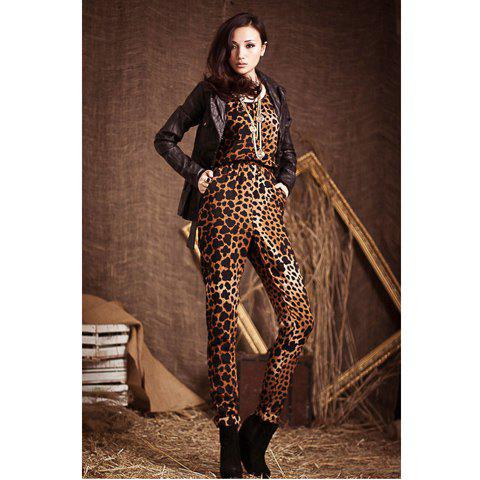 Delicate Scoop Neck Leopard Pattern Elastic Waisted Sleeveless Silk Wadding Jumpsuits For Women - LEOPARD M