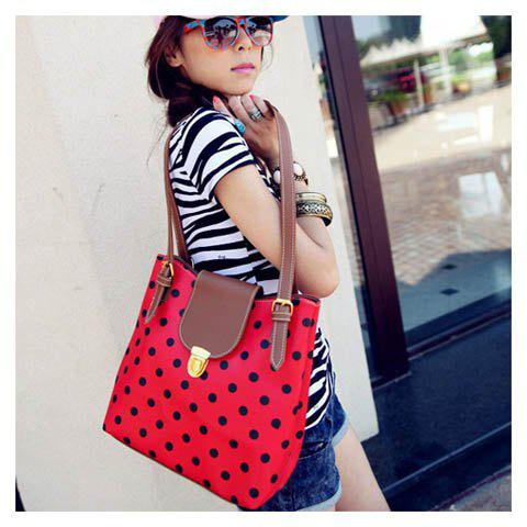 New Arrival Dot Printed and Snap Fastener Design One-Shoulder Bag For Female - RED