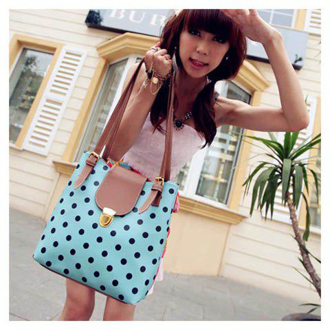 New Arrival Dot Printed and Snap Fastener Design One-Shoulder Bag For Female - BLUE