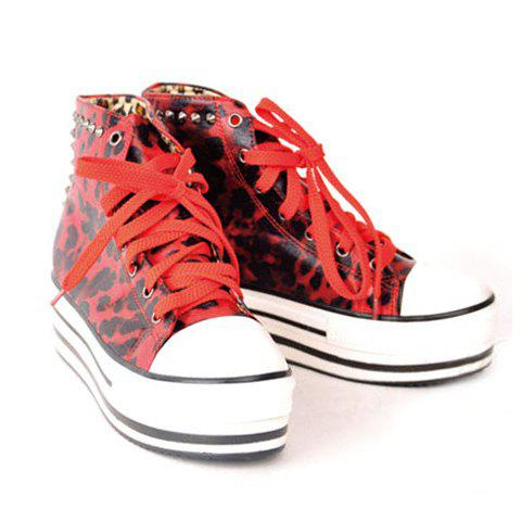 New Arrival Casual and Fashionable Style Leopard Printing and Studs Embellished Shoes For Female - RED 36