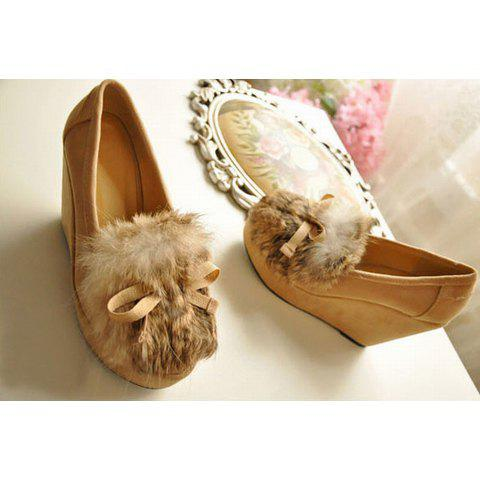 Sweet and Fashionable Style Bowknot and Faux Fur Embellished Wedge Heel Design Shoes For Female - APRICOT 36