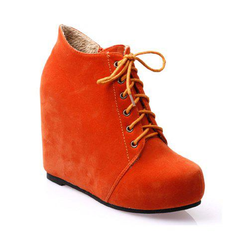 Attractive and Mix-Matched Style Simple Wedge Heel Design Lacing Ankle Boots For Female