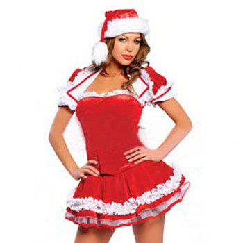 Christmas Cosplay Red Short Sleeves Coat+Strapless Tops+Mini Skirt Costume Sets For Women