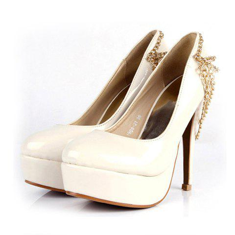Elegant and Attractive Style Chain Embellished Mix-Matched Design High-Heeled Shoes For Female - BEIGE 36