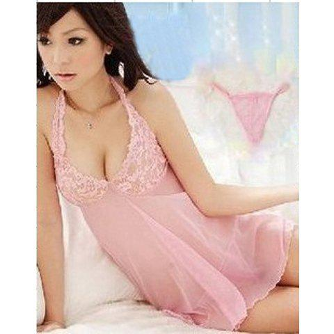 Charming and Sexy Halter-Neck Lace Decorated Backless Design Sheer Nightgown For Female - PINK FREE SIZE