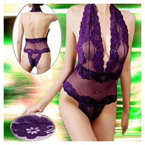 Charming and Sexy Lace Decorated V-Neck One-Piece Sheer Nightgown For Female - PURPLE FREE SIZE