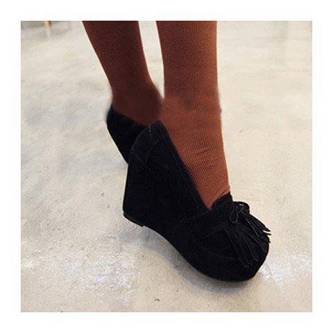 Hot and Fashionable Style Fringe and Bowknot Embellished Wedge Heel Design Shoes For Female - BLACK 36