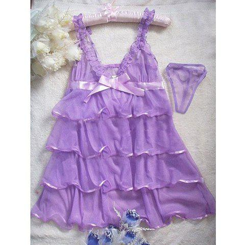 Sweety Plunging Neck Transparent Layered Ruffles Purple Tulle Nightgown For Women