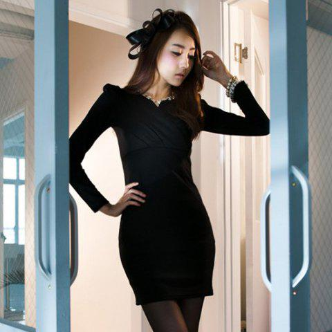 New Arrival V-Neckline Buttocks Tight Long Sleeve Lycra Dress For Women - BLACK FREE SIZE