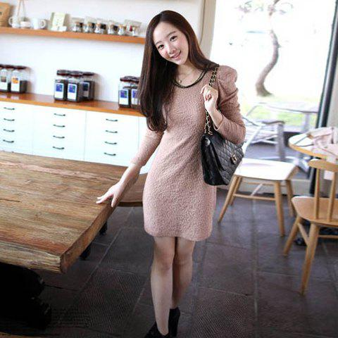 Slimming Scoop Neck Golden Chain Embellished Solid Color Apricot Long Sleeves Cotton Blended Dress For Women - APRICOT S