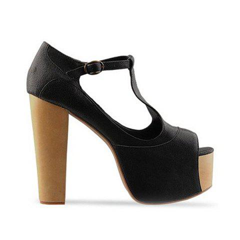 Hot and Mix-Matched Style Buckle Embellished Peep Toes Design PU Leather High-Heeled Sandals For Female - BLACK 38