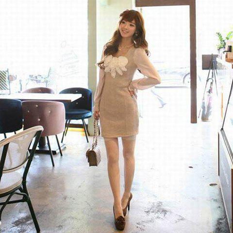 Exquisite Handmade Flowers Embellished Faux Pearl Chain Apricot Long Sleeves Cotton Blended Dress For Women - APRICOT