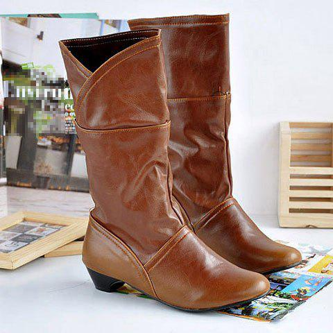 Retro and Fashion Style Simple Design 28CM Upper Boots For Women - YELLOW 36