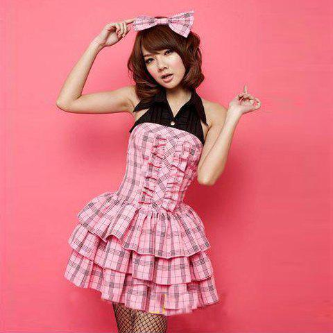 Cute Pink Student Cosplay Check Halter and Layered Design Costume Sets For Women - PINK FREE SIZE