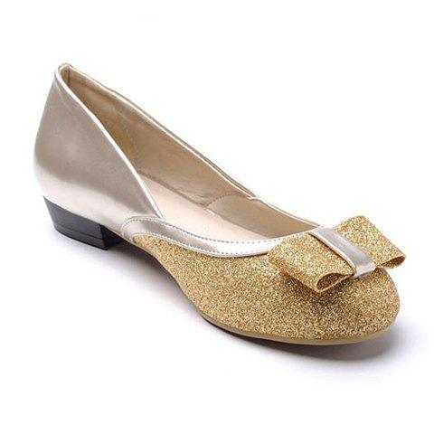 Fashion and Sweet Bowknot and Sequin Embellished Round Head Design Women's Flat Shoes - GOLDEN 36
