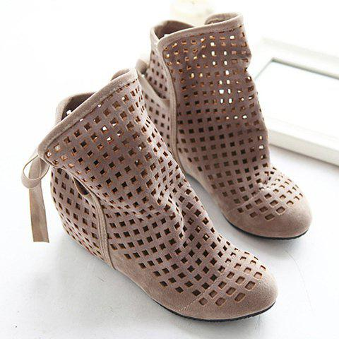 Special Offer Fashion and Casual Openwork Lacing Round Head Design Women's Boots - BEIGE 38