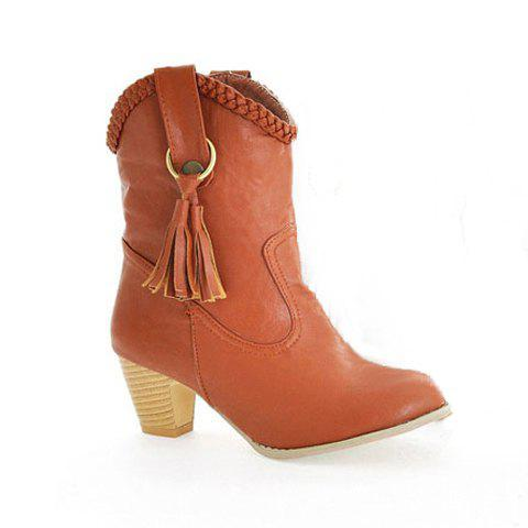 Special Offer Fashion and Comfortable Tassels Embellished Thick Heel Design Women's Boots - YELLOW 35
