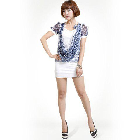 Cute Scoop Neck Layered Stackable Lace Puff Short Sleeve Chiffon+Cotton Dress For Women - WHITE