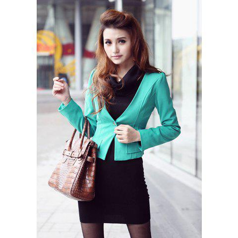 Charming Plunging Neck Single-Button Embellished False Pockets Green Long Sleeve Ramie Coat For Women - GREEN M