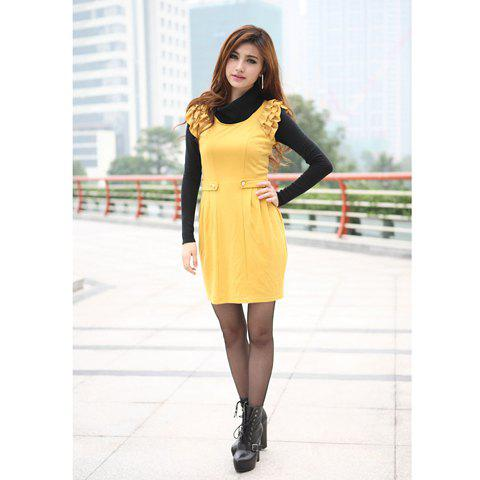 Slimming Scoop Neck Solid Color Layered Flounce Ruffles Yellow Sleeveless Dress For Women - YELLOW M