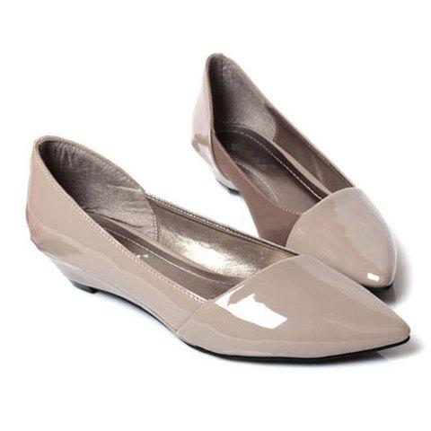 Fashion and Comfortable Pointed Head Design Patent Leather Women's Wedge Shoes - APRICOT 37