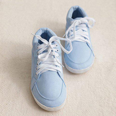 Fashion and Casual Candy Color Lacing Deisgn Women's Canvas Shoes - BLUE 37