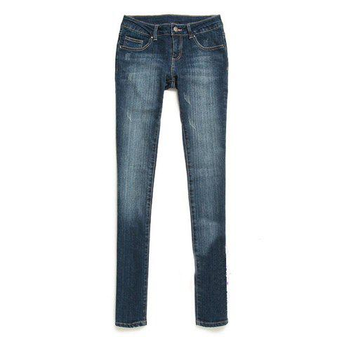 Fashionable and Slimming Scratch Embellished Low Waist Blue Cotton Long Jeans For Women