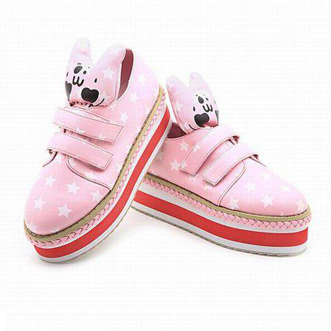 Fashion and Casual Cartoon Print Magic Sticker and Thick Sole Design Women's Shoes - PINK 35